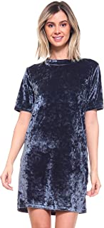Women's Holiday Party Dresses Soft Stretchy Alpine Crushed Velvet A-line Hoodie Dress with Pockets