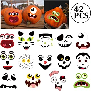 jollylife Pumpkin Decorating Craft Stickers - Kids Make Your Own Jack-O-Lantern Face Decals Halloween Party Decorations 42Ct