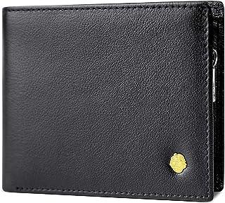 LAORENTOU Genuine Leather Wallets for Men Multi Card Holder Bifold Mens Short Wallet with Zipper Credit Card Holders Purse...