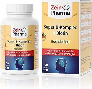 ZeinPharma Super Vitamin B-komplex 90 kapslar (3 månaders förråd) dubbel styrka B-vitaminer som folsyra, niacin, biotin, B...