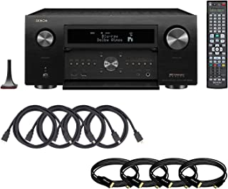 Denon AVR-X8500H World's first 13.2 channel 4K Ultra HD Multiroom next generation home theater system with Built in HEOS technology Dolby Atmos, DTS:X and Auro 3D with 8 HDMI Cables AV Receiver Bundle
