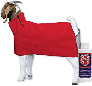 Show Pro Red Goat Blanket Nylon with Mesh Butt for Show Goats - Livestock Supplies for Goat Cover. Free Ring Out Concentrate for Proven Ringworm & Fungus Prevention Included