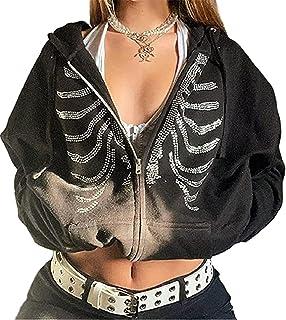 Vrouwen Y2k Skelet Strass Print Trekkoord Hooded Pullover Sweatshirt Causale Lange Mouw Hooded Jacket 90 S Vintage Rits Ho...