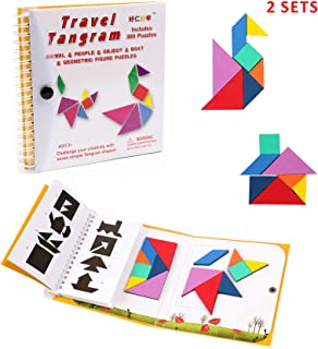 Tangram Travel Game Magnetic Puzzle Book Game Tangrams Jigsaw Shapes Dissection with Solution Questions Traveler Challenge IQ Educational Toy for 3-100 Years Old with 2 Set of Tangrams 360 Patterns