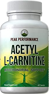Acetyl L-Carnitine by Peak Performance. ALCAR Highest Quality USA Sourced Acetyl L Carnitine Supplement. 1 Capsule 500mg. 2 Capsules 1000mg Natural Amino Acids Pills Support Mitochondria Brain Health