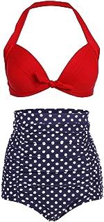 Spring fever Women's Retro 50S Elegant High Waist Bikini Swimsuit