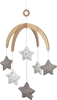 ED Ellen DeGeneres Starry Night - Nursery Ceiling Mobile with Natural Wood Arms, Grey, White Stars, Grey, Gold Embroidery, Grey, White, Gold