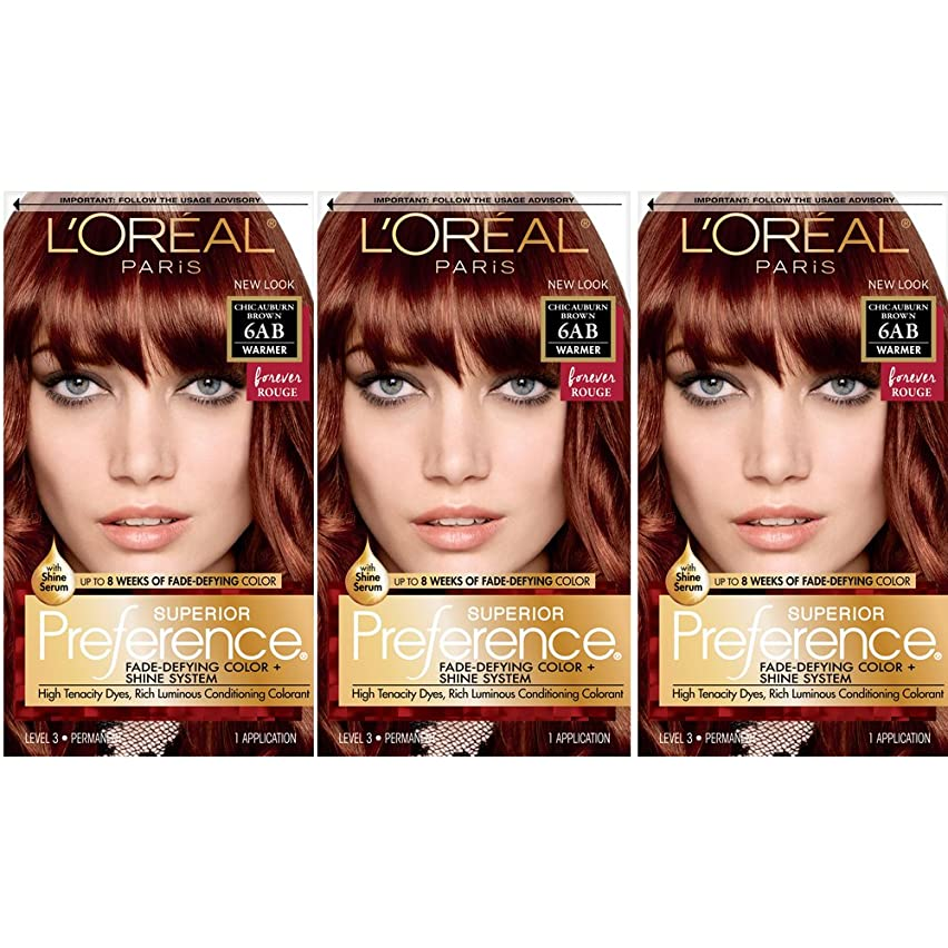 L'Oréal Paris Superior Preference Fade-Defying + Shine Permanent Hair Color, 6AB Chic Auburn Brown, 3 COUNT Hair Dye