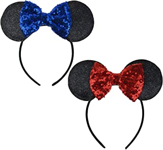 Mickey Ears Headbands Sequin Hair Band Accessories for Women Girls Cosplay Party
