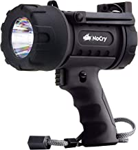 NoCry 18W Waterproof Rechargeable Flashlight (Spotlight) with 1000 Lumen LED, Detachable Red Light Filter, Wall and Car Charger Attachments, Black