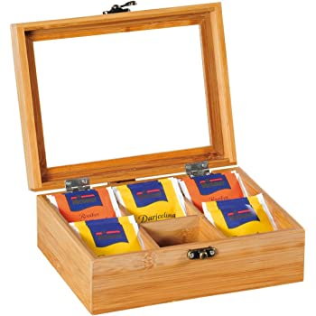 Kesper 50902 - Caja para té, bambú, 21,7 x 16 x 9cm, Color Madera