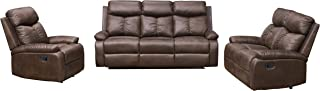 Betsy Furniture 3-PC Microfiber Fabric Recliner Sofa Set Living Room Set in Brown, Sofa, Loveseat and Chair, 8065-321