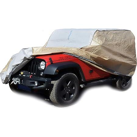 Big Ant Autoabdeckung 100 Wasserdichte Auto Abdeckplane Für Jeep Wrangler 2 Tür Jeep Autoplane Vollgarage Jeep Wrangler Abdeckung Für Cj Yj Tj Und Jk 2 Tür Mit Reißverschluss 430x165x165 Cm Auto