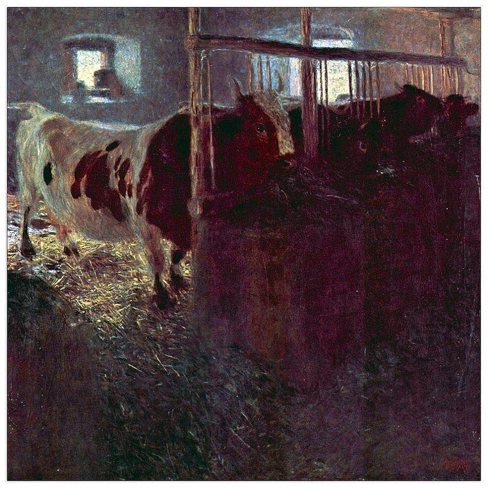 ArtPlaza TW90259 Klimt Gustav-Cows in Stall Decorative Panel, 23.5x23.5 Inch, Multicolored