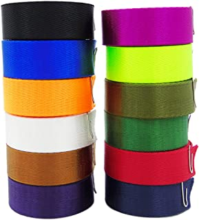 12Pcs Colored Nylon Heavy Webbing Straps, 1 inch x 3.3 Yards Weather Resistant Fabric Straps for Bags, Backpacks, Handles, Luggage, Slings