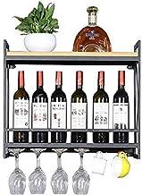 Metalen wijnhouder Houten wijnrek Opslag Wijnhouder Wijnopslagplank - Casier agrave;Vin Mural/Inverted Goblet HolderHome ...