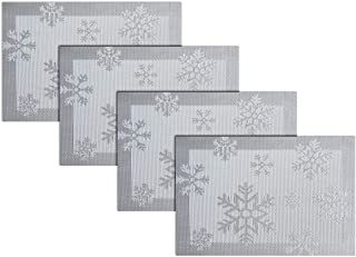 pigchcy Christmas Placemats Snowflake Woven Heat-Resistant Placemats Washable Easy to Clean Table Mats for Dining Room and Decor(Set of 4, Silver)