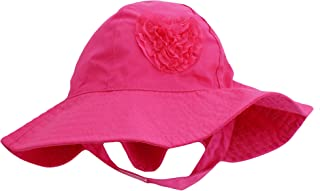 Little Me Sun Hat with Heart and Chin Strap for Infant Girls Solid Pink 12-24M
