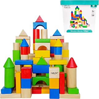 Cubbie Lee Premium Wooden Building Blocks Set - 100 pc for Toddlers Preschool Age - Classic Hardwood Plain & Colored Small Wood Block Pieces for Boys & Girls - Classic Build & Play Toy
