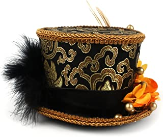 Xiang Ye Micro Mini Top Hat, Gold and Black, Pageant hat Mad hatter Hat, Tea party mini hat