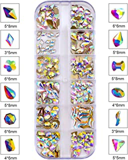 BLINGINBOX 240pcs Multi Shapes Glass Crystal AB Rhinestones Nail Art Set Nail Gems Iridescent Clear Class Flat Back Shiny Nail Jewels for Nail Art DIY Crafts Phones Clothes Shoes Jewelry Bag (Kit 3)