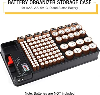 Battery Organizer Storage Case with Removable Battery Tester 110 Batteries Slot for AAA, AA, 9V, C, D and Button Battery b...