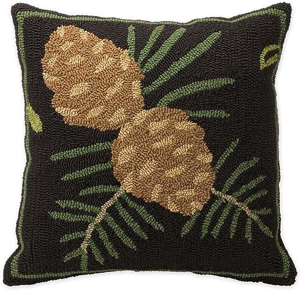 Indoor Outdoor Woodland Decorative Throw Pillow With Pine Cones 17 75 L X 17 75 W X 4 25 H