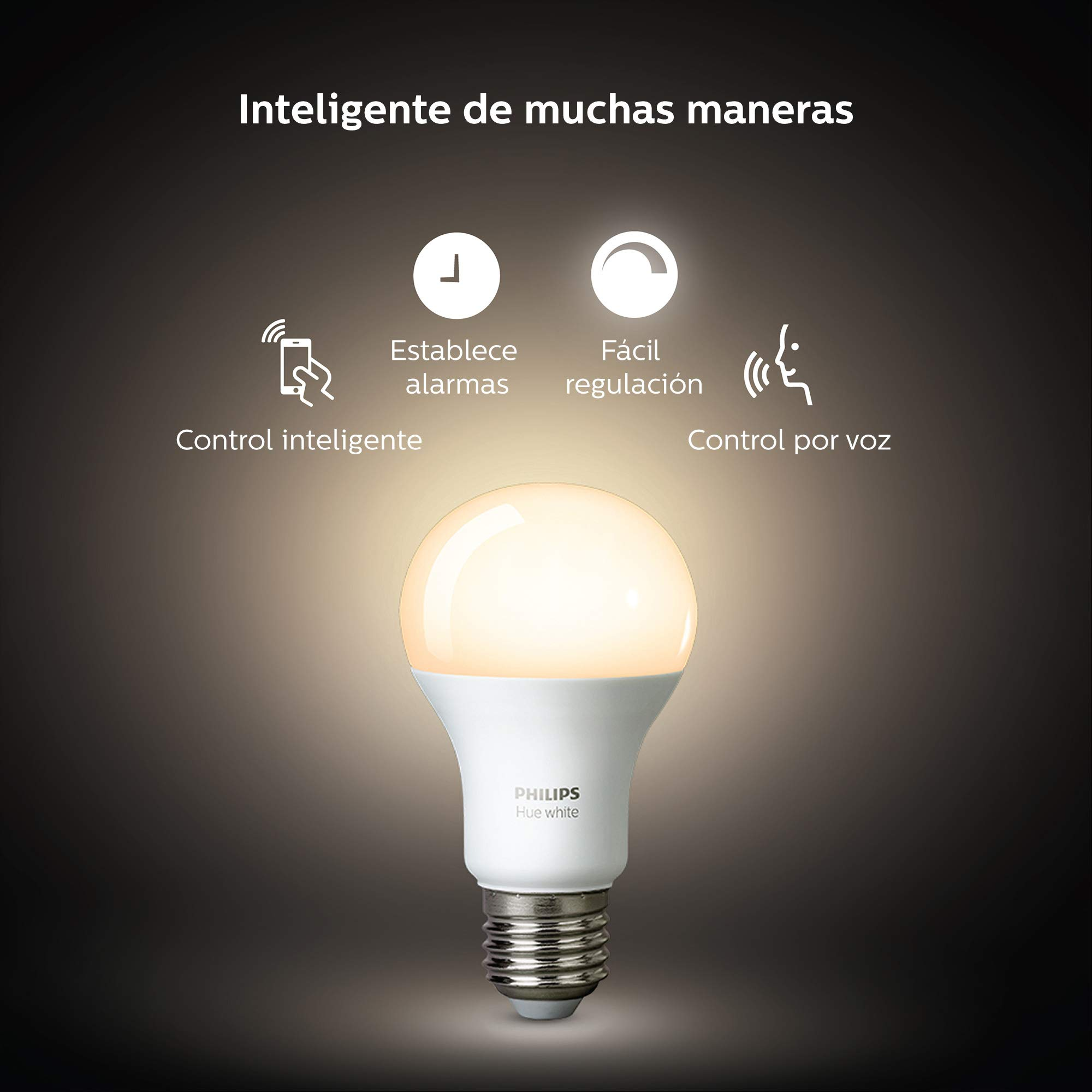 Philips Hue Bombilla Inteligente LED E27, 9.5 W, Luz Blanca Cálida ...