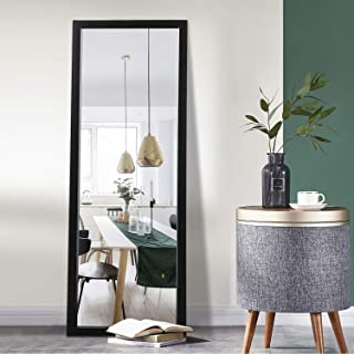 """آینه كف یقه یازده كف تمام طول 43 """"x16"""" آویز مستطیلی بزرگ آویز یا تكیه به دیوار برای اتاق خواب ، آراستن و آینه قاب نازك دیواری - مشكی"""