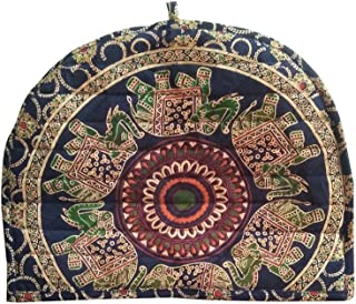 Shubhlaxmifashion Indian Cotton Mandala Green Blue Tea Cosy Elephant Printed Abstract Tea Pot Décor Cover Traditional Tea Quilt Floral Warmer Tea Cozies Insulated Gift