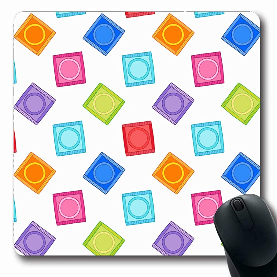 Ahawoso Mousepads Safety Caution Condoms Lovely Contraceptive Medicine Disease Doodle Erotic Graphic Oblong Shape 7.9 x 9.5 Inches Non-Slip Gaming Mouse Pad Rubber Oblong Mat