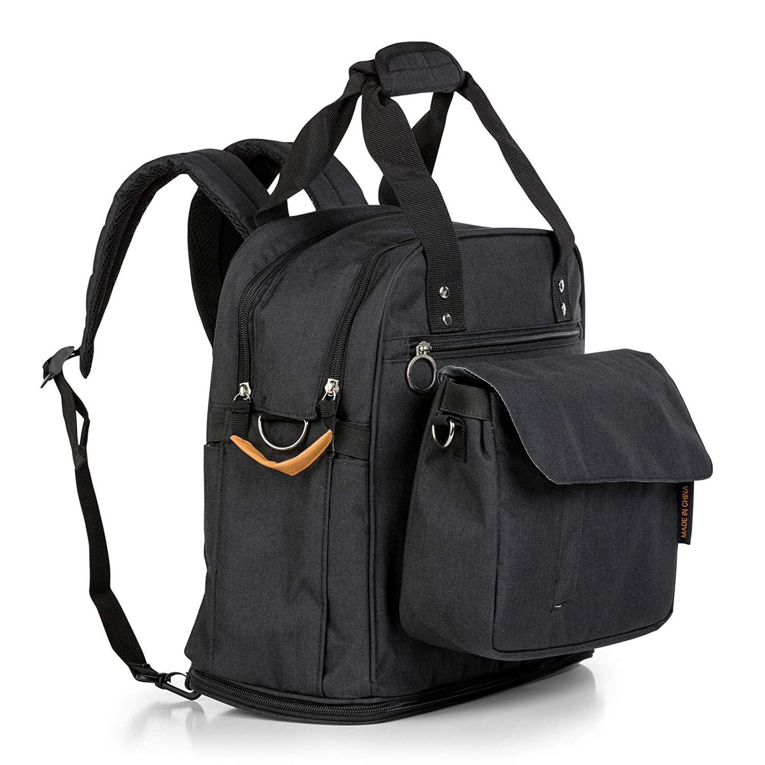 JOJOHUG - Baby Diaper Bag Backpack with Detachable Front Pouch - Large (Black)