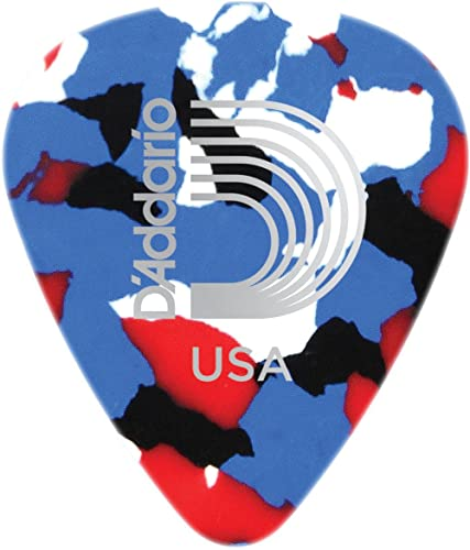 D'Addario Multi-Color Celluloid Guitar Picks, 25 pack, Light