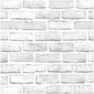 "Faux Brick Wallpaper, H2MTOOL Removable Self Adhesive White Gray Contact Paper for Home Decor (17.7"" x 78.7"", White Grey)"