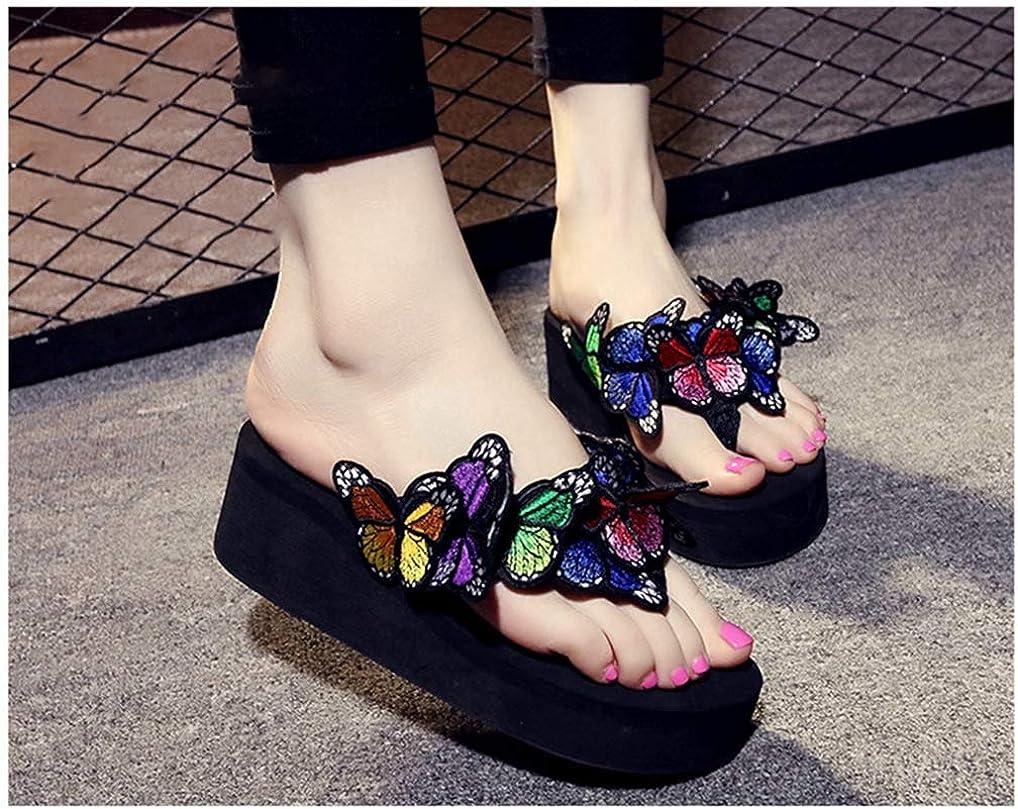 Women Butterfly Platform Flip Flops Round Toe Soft Cushion Footbed Summer Wedge Thong Sandals Black