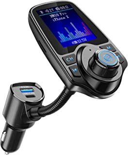 "Nulaxy Bluetooth FM Transmitter for Car, USB-C PD Car Charger 1.8"" Color Screen Wireless Radio Adapter Music Streaming Hands Free Car Kit with 5V/2.4A Charger, SD Card Slot, Aux in/Out – KM18 Pro"