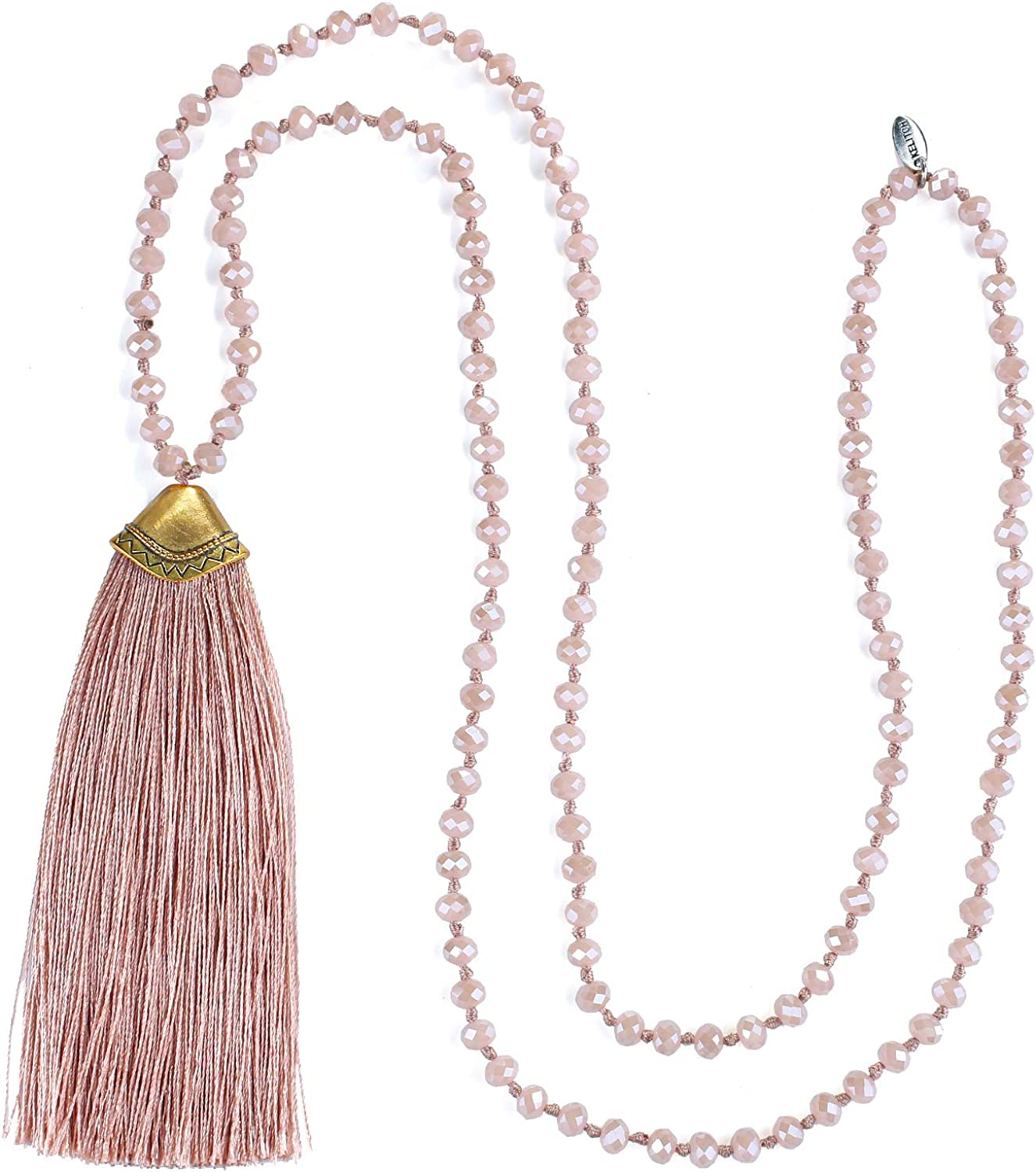 KELITCH Women Crystal Beads Necklaces Handmade Tassel Pendant Necklaces 6MM Crystal Strand Necklace for Women
