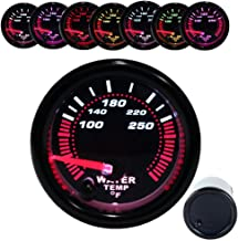 Dewhel Black Water temp Temperature Gauge Universal Meter 7-Colors LED 52mm 12V CAR Auto Gauges 100-250 °F W/Sensor