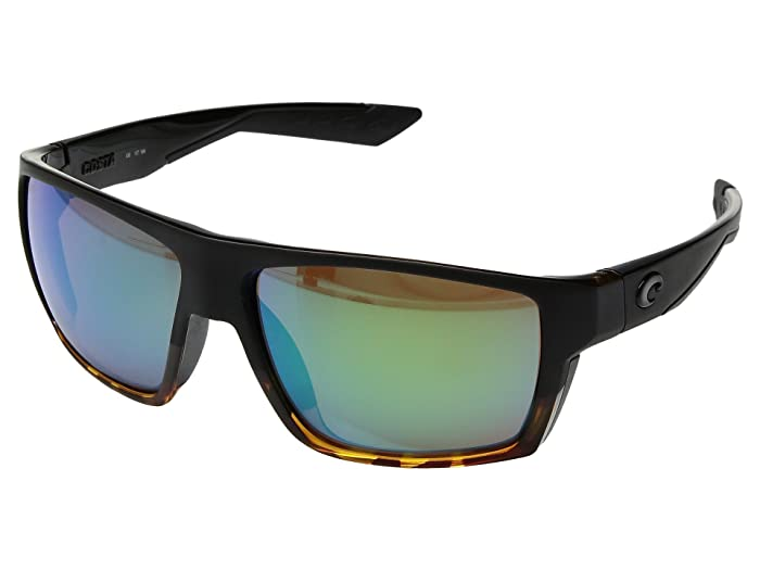 Costa  Bloke (Matte Black/Shiny Tortoise Frame/Green Mirror 580G) Sport Sunglasses