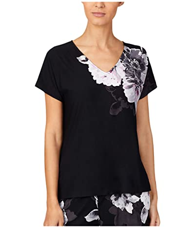 Donna Karan Modal Spandex Jersey V-Neck Top (Black Floral) Women