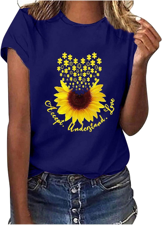 FABIURT Womens Summer Tops,Women Fashion Sunflower Printed Short Sleeve Round Neck T Shirt Casual Loose Graphic Tee Tops