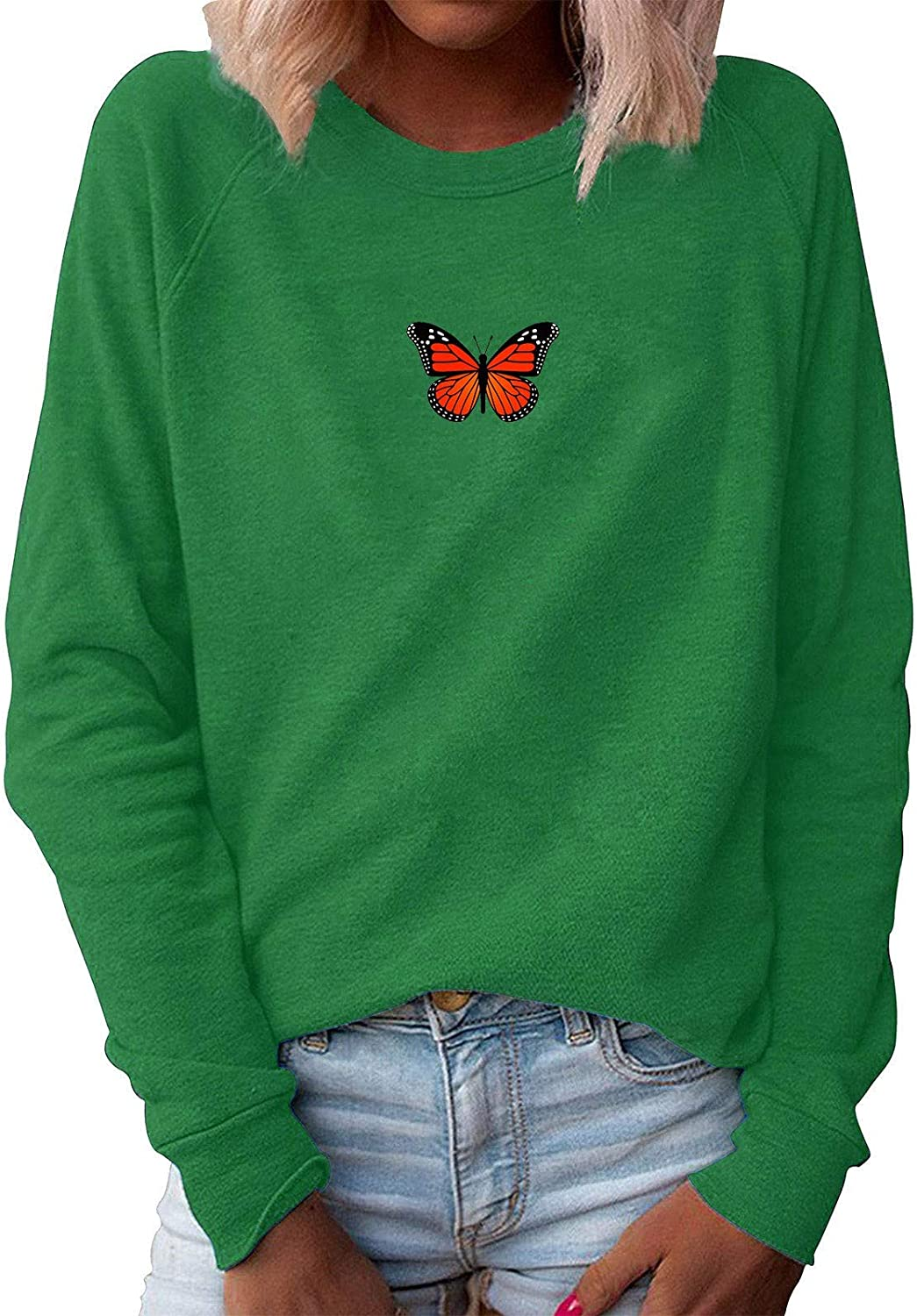 Forwelly Women's Butterfly Print T Shirt Plus Size O Neck Loose Sweatshirt Pullover Long Sleeve Casual Blouse Top