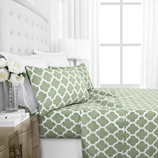 Italian Luxury 1800 Series Hotel Collection Quatrefoil Pattern Bed Sheet Set - Deep Pockets, Wrinkle and Fade Resistant, Hypoallergenic Printed Sheet and Pillow Case Set - Queen - Sage