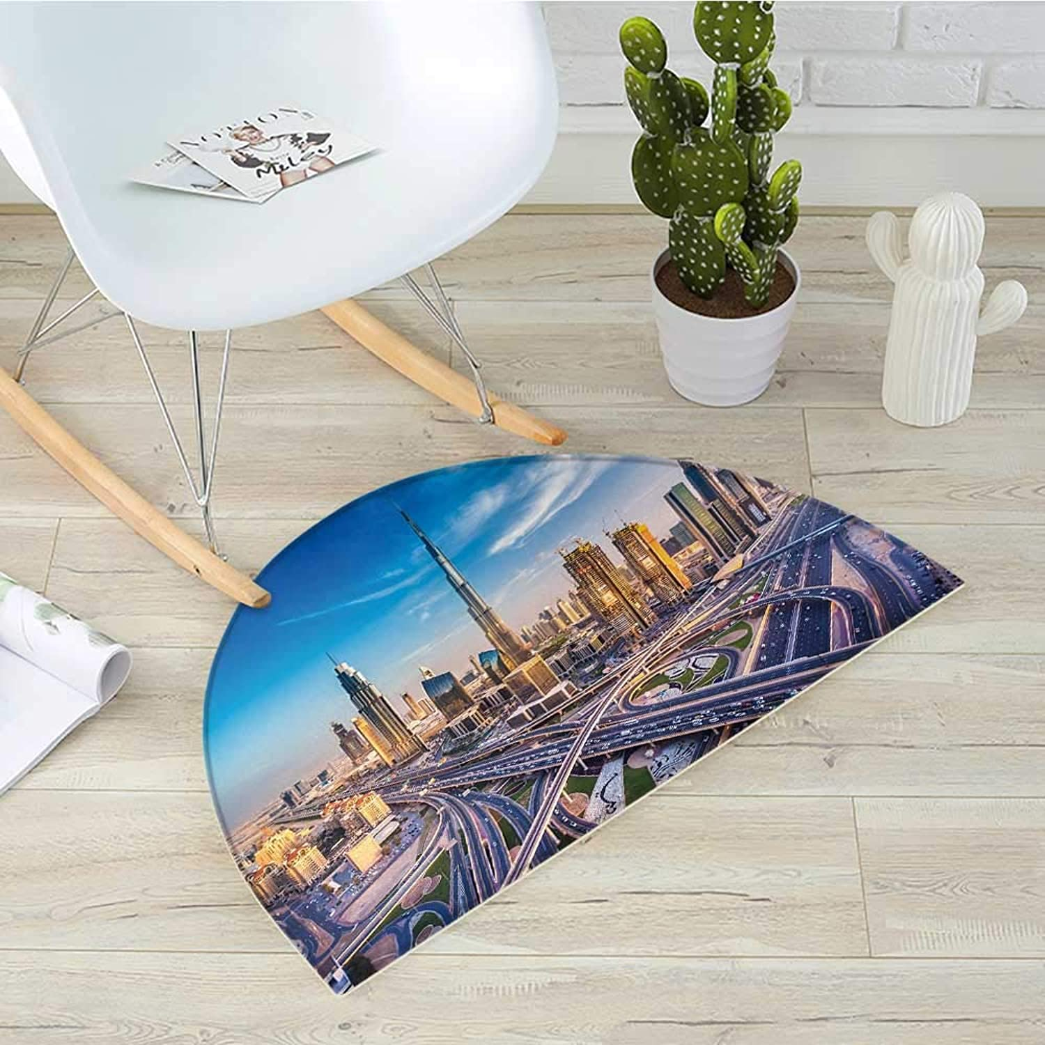 City Semicircle Doormat Panoramic View of Dubai Arabian Cityscape High Rise Buildings Traffic Roads Halfmoon doormats H 31.5  xD 47.2  bluee Ivory Marigold