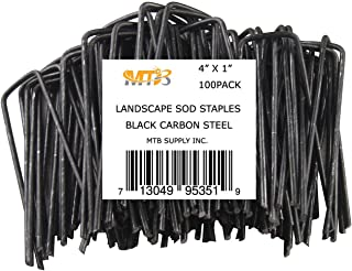 MTB 100 Pack 4x1 inch 11GA(0.12inch) Sod Staples Garden Pins Netting Stakes Ground Spikes Landscape Cover Pegs Carbon Steel Black