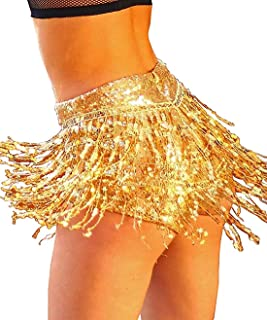 Tremour Women's Sequins Tassel Skirts with Shorts Booty Dance Festival Bottoms
