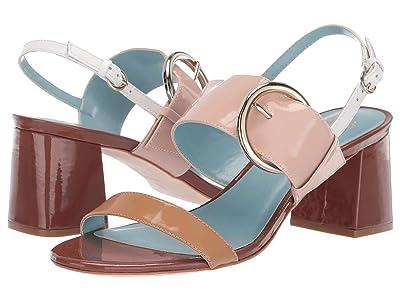 Frances Valentine Betty Heeled Sandal (Dark Camel/Pink/Light Camel Soft Patent) Women