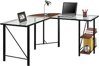 Ameriwood Home Cruz Glass Top L Desk, Cherry