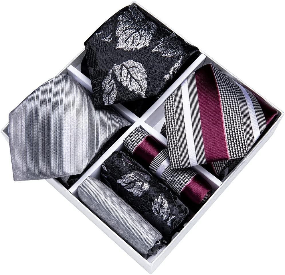 CDQYA 3 Pack Gift Box Men's Tie Set Gift For Men 8cm Business Silk Necktie Hanky Cufflinks Tie Clip Wedding (Color : 3 Pack, Size : One size)