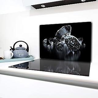 80x52 cm Diamanten Einteilig Tulup Glas Herdabdeckplatte Ceranfeldabdeckung Spritzschutz Glasabdeckplatte Kochplattenabdeckung und Schneidebrett Sonstige Silber